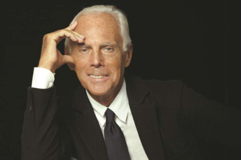Designer Giorgio Armani at his studio.
